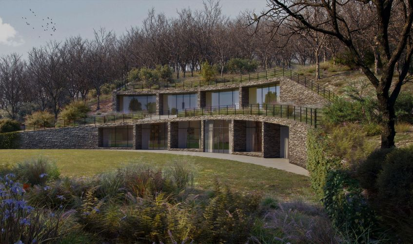 A contemporary subterranean sustainable and carbon-neutral house.